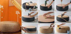 Transformer un vieux pneu en table d'appoint ou en pouf