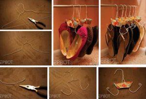 Transformer un cintre métallique en porte chaussons