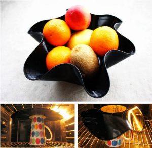 Une coupe à fruits avec un vinyle
